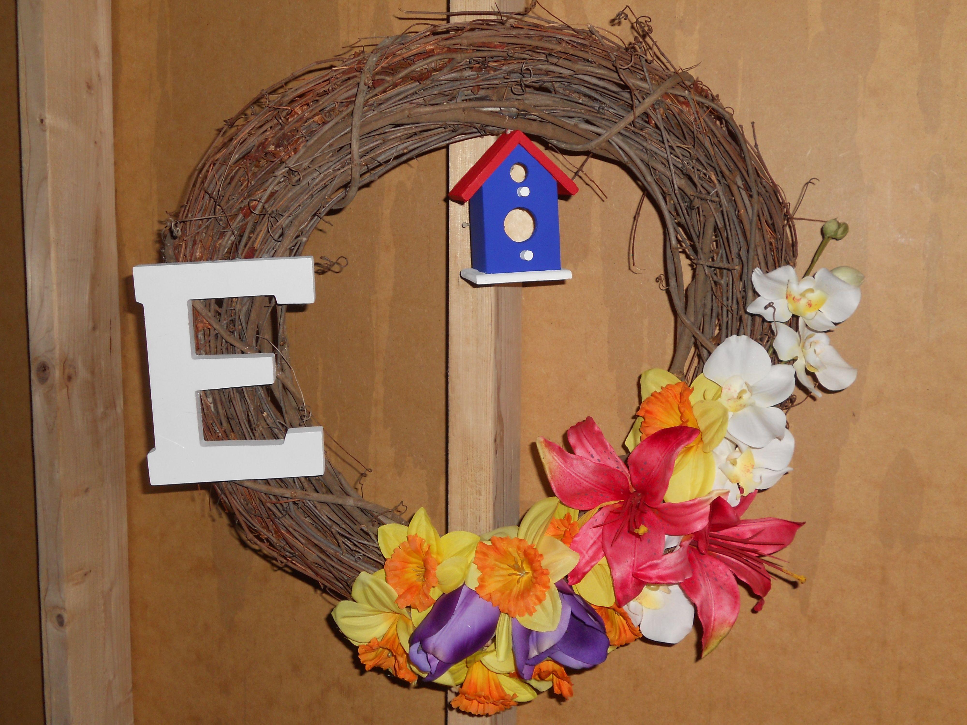 """Springtime """"E"""" wreath"""