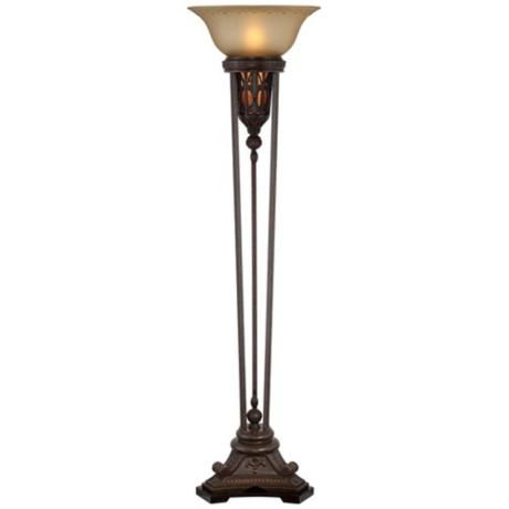 fleur de lis champagne glass and bronze torchiere floor lamp - Torchiere