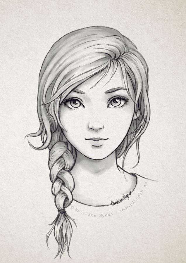 Pencil Drawing Of Girl