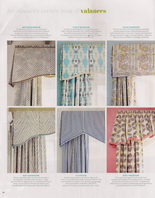 Nice collection of valance inspirations. I usually just wing it, but it's always nice to have models to follow.