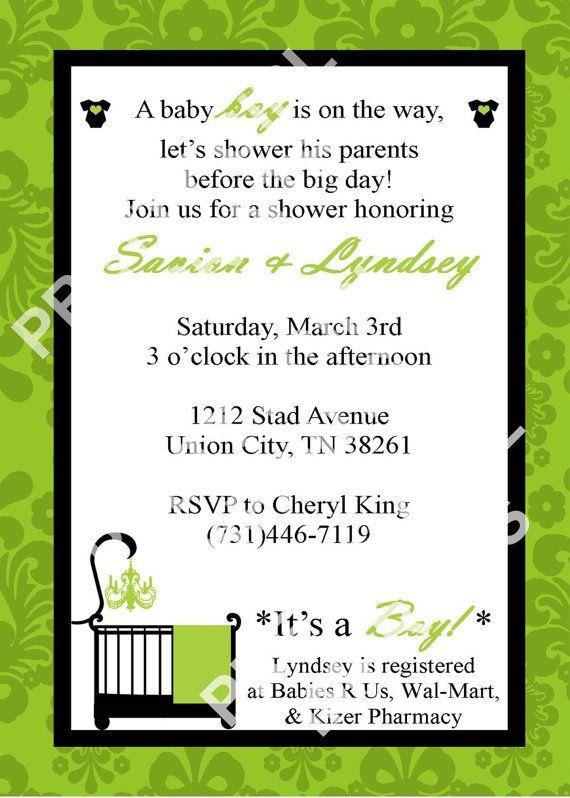 Modern Green Damask Baby Shower Invitation/Invite ONLY $12.00