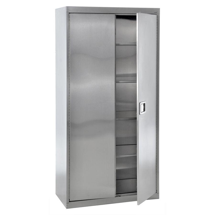 Edsal 36 In W X 78 In H X 24 In D Steel Freestanding Garage Cabinet Stainless Steel Sa4d36247 In 2020 Steel Storage Cabinets Stainless Steel Cabinets Storage Cabinet