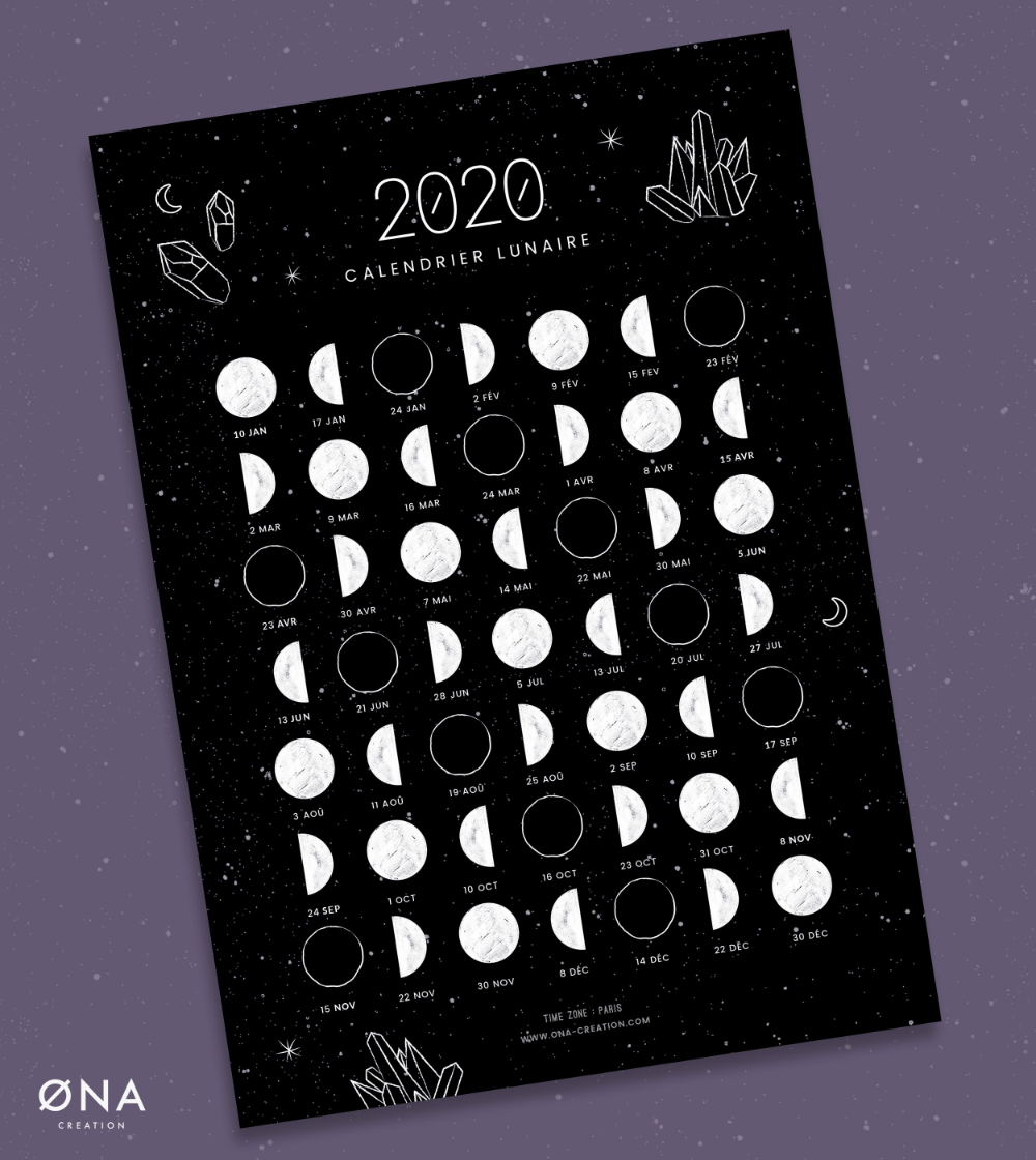 Moon calendar 2021 (French), Lunar phase, card, New Moon, Full