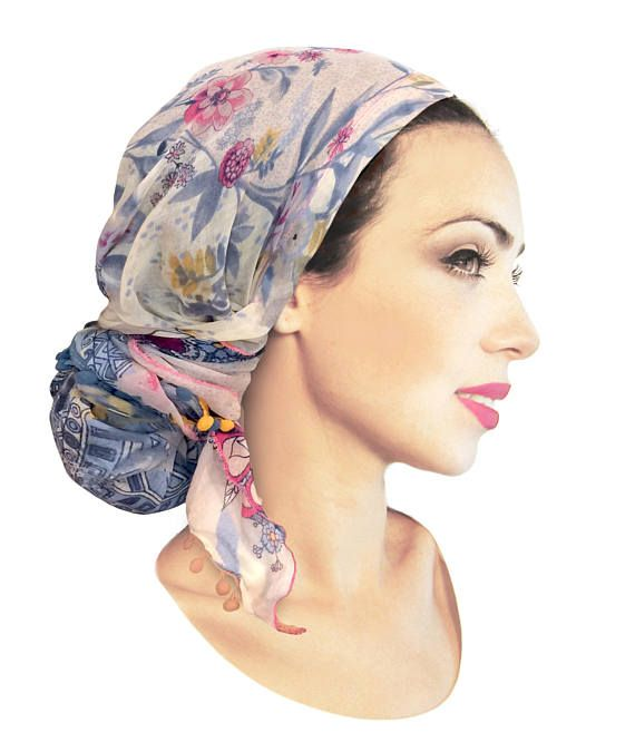 2753c42003b219 Floral Head Scarf Navy Blue Pink Tichel Turban Wrap Boho Chic Bad ...