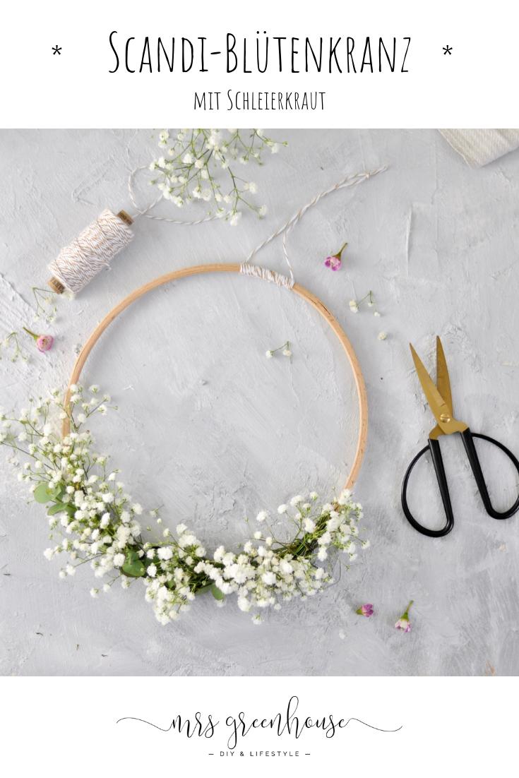DIY für einen winterlichen Blütenkranz mit Schleierkraut – Boda fotos