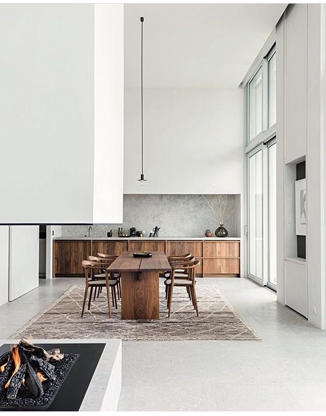 high ceiling | Dining room industrial, Minimalist kitchen ...