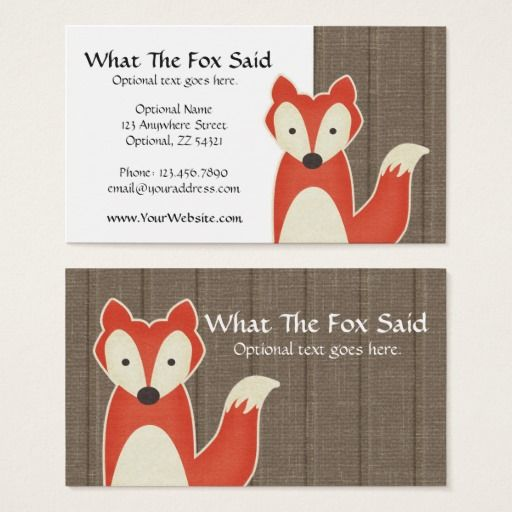 Red fox on rustic wood kids boutique modern business card wood red fox on rustic wood kids boutique modern business card reheart Image collections