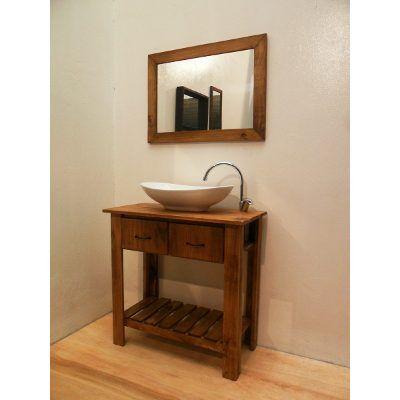 Combo vanitory bacha loza espejo cetol for Bajo gabinete tocador bano de madera