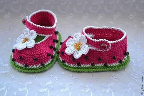 Hermoso zapatito tejido al crochet♥♥♥ | zapatitos