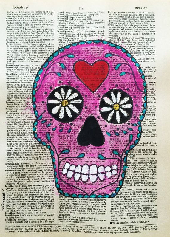 PINK SKULL Original Painting Signed Portrait by PaintingsbyVenus