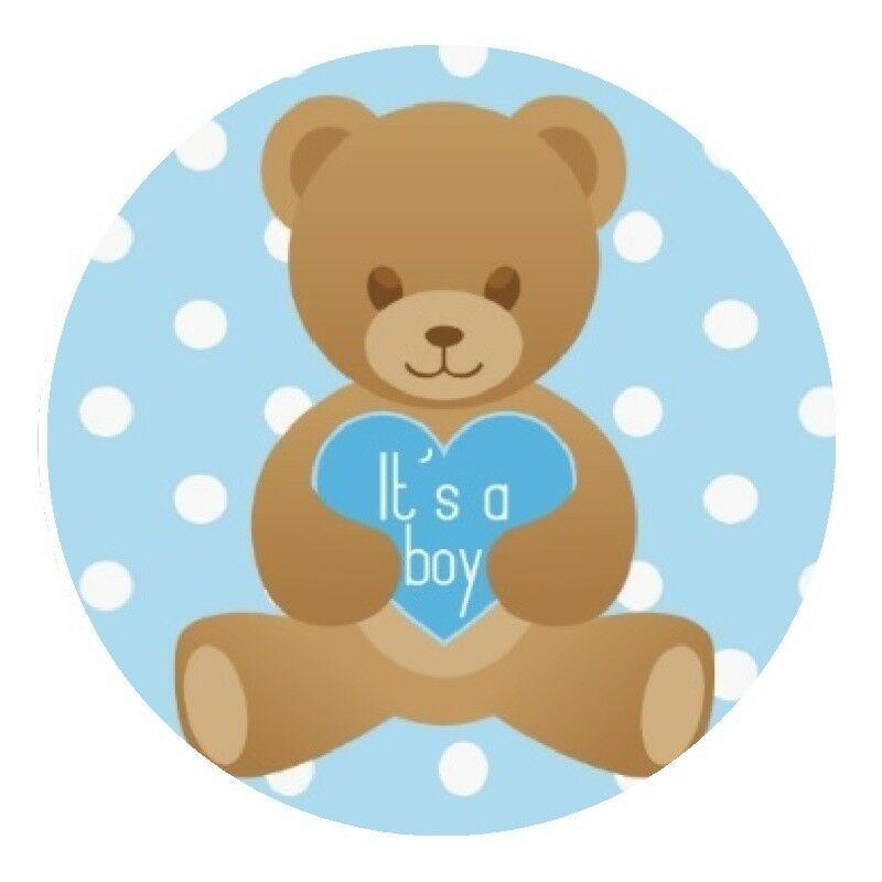 30 it/'s a boy teddy bear baby shower stickers bag lollipop labels favors blue