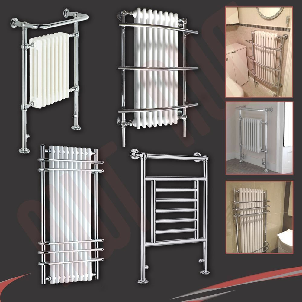 Heated Towel Rail Vertical: Details About HIGH BTUs! Traditional Designer Chrome