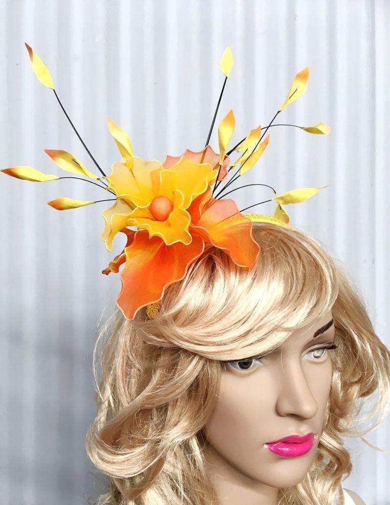 Women s New Yellow   Orange Flower Fascinator - Headpiece Accessories  PL1007U  f121a79d4b8