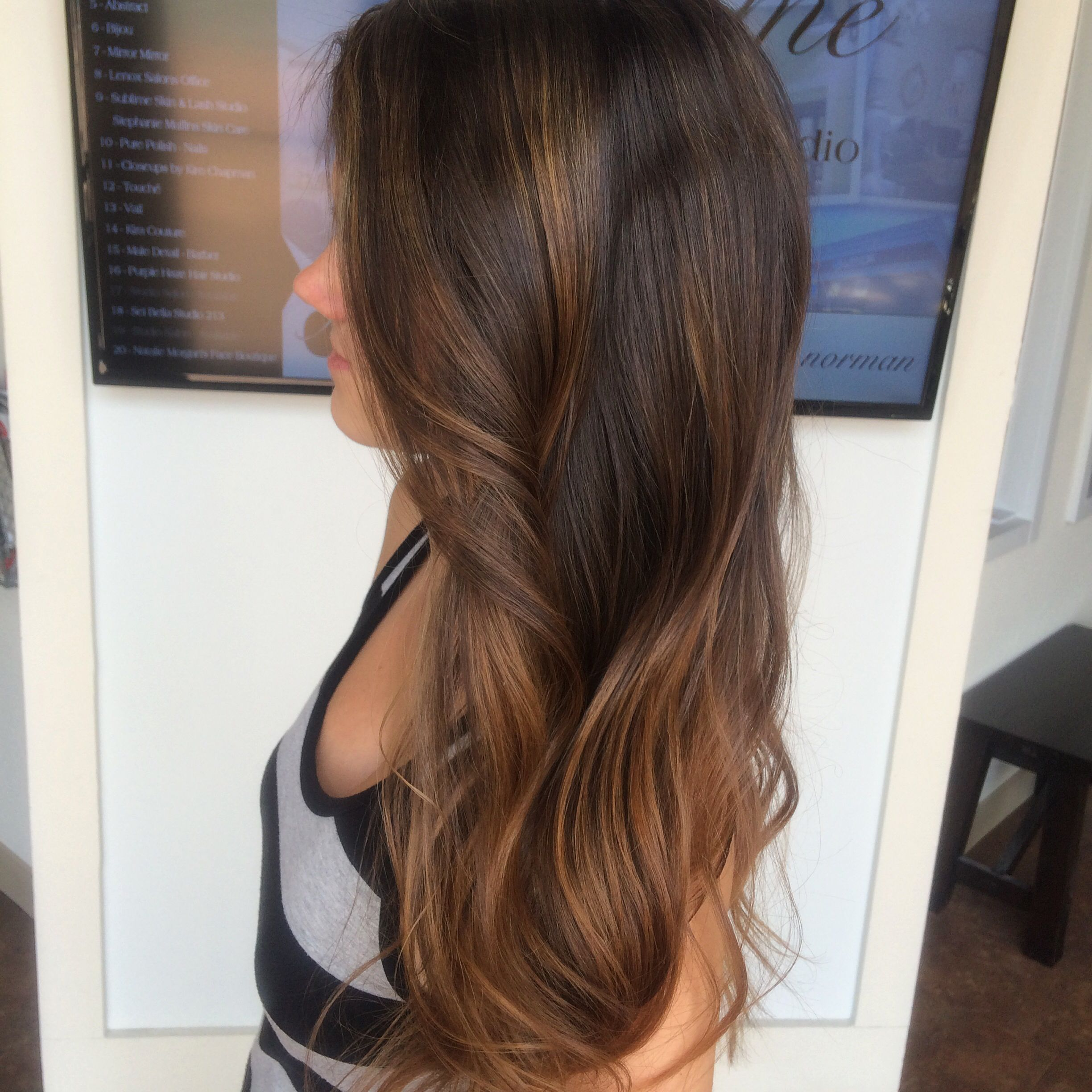long hair layers and waves sun kissed highlights balayage brown with caramel natural lkn. Black Bedroom Furniture Sets. Home Design Ideas