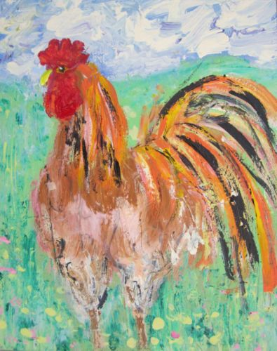 Beautiful-Boy-in-the-Meadow-a-painting-by-Jenny-Hare-cockerel-chicken