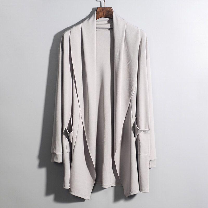 ChArmkpR Mens Fashion Irregular Hem Solid Color Mid-long Hooded Loose Cardigans
