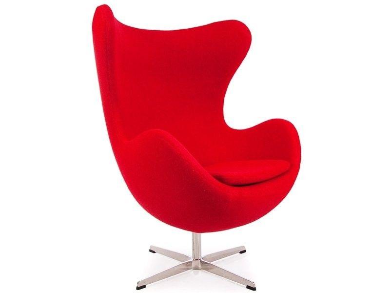Red Wool Funky Replica Retro Jacobsen Egg Armchair