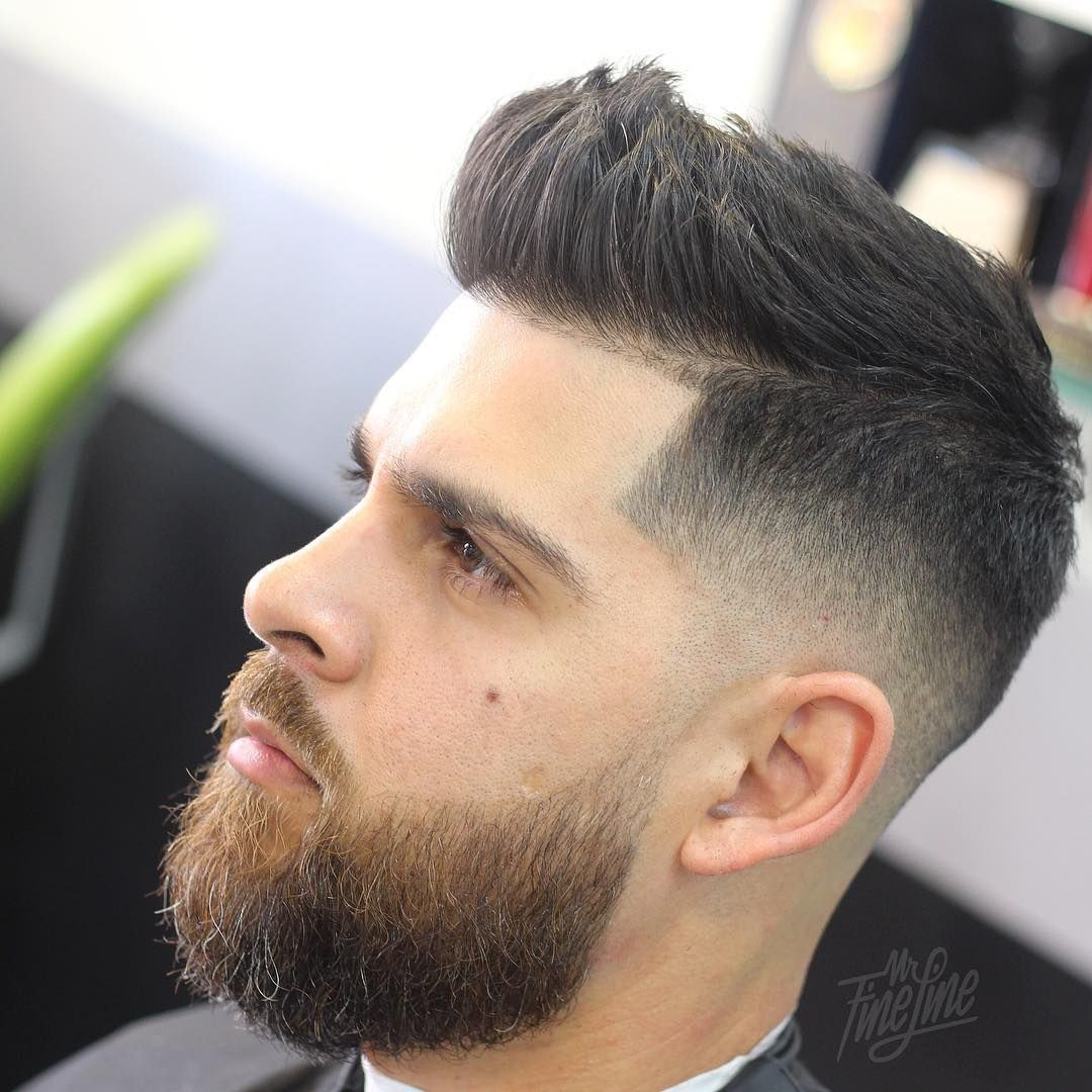 Mr Fineline Short Quiff Hairstyle For Men With Beard Menshairstyles Menshaircuts Menshair Hairstylesformen H Quiff Hairstyles Mens Hairstyles Short Quiff