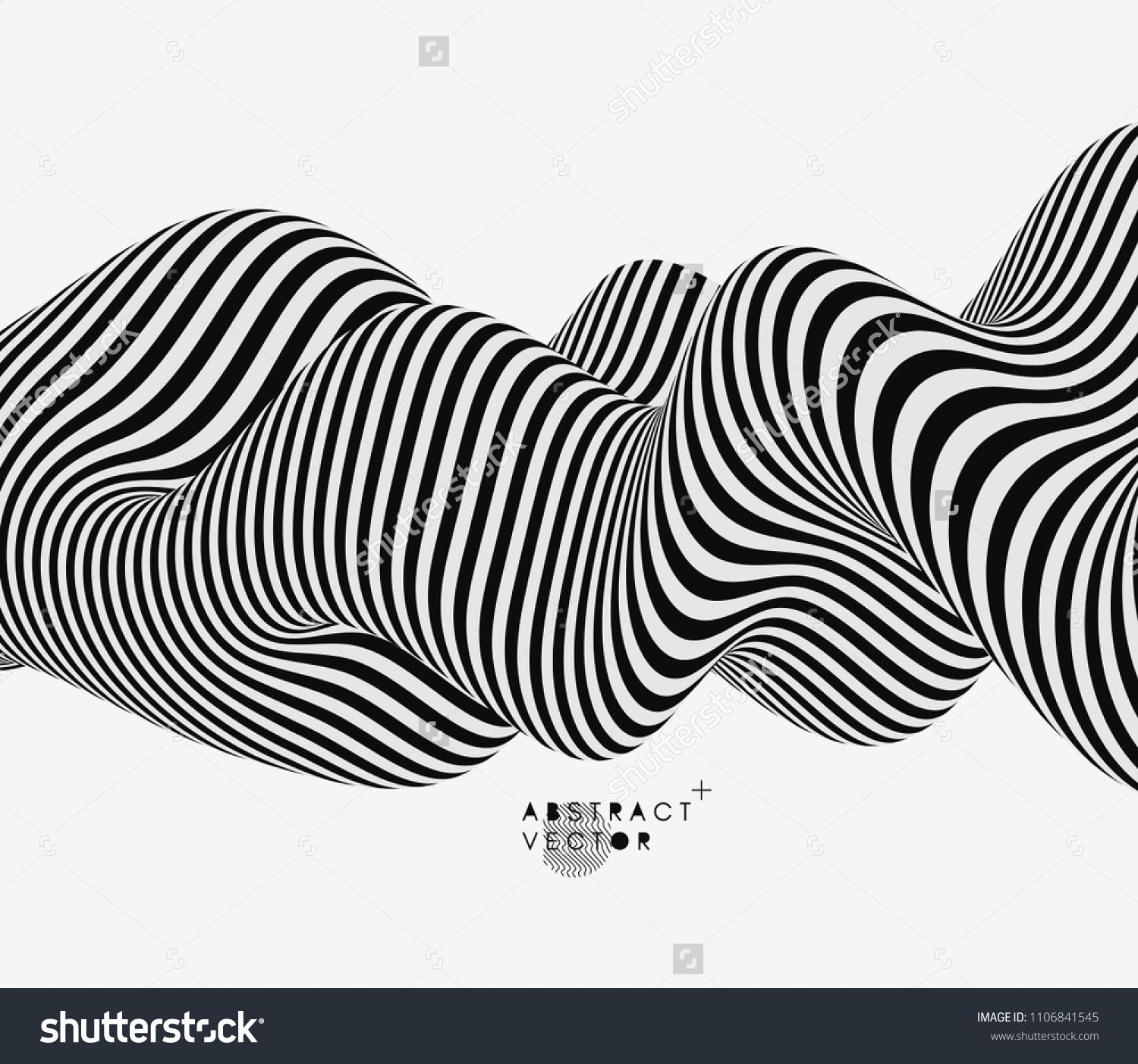 Black and white design pattern with optical illusion abstract 3d geometrical background vector illustration patternopticaldesignblack