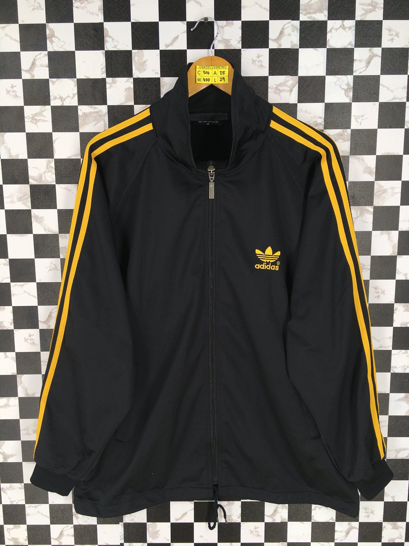 68ca3837a657 ADIDAS TREFOIL Track Top Jacket Black Medium Vintage 90s Adidas Three  Stripes Outfit Sportswear Firebird Jacket Zipper Windbreaker Size M by  JunkDeluxeRetro ...