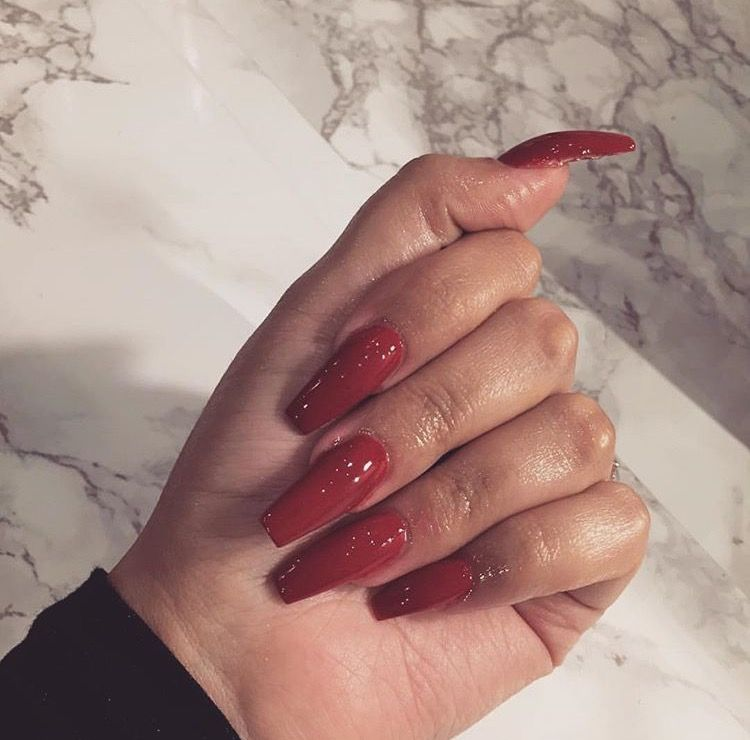 Red Nails, Color Nails, Nail Colors, Coffin Nails, Acrylic Nails, Short Nails
