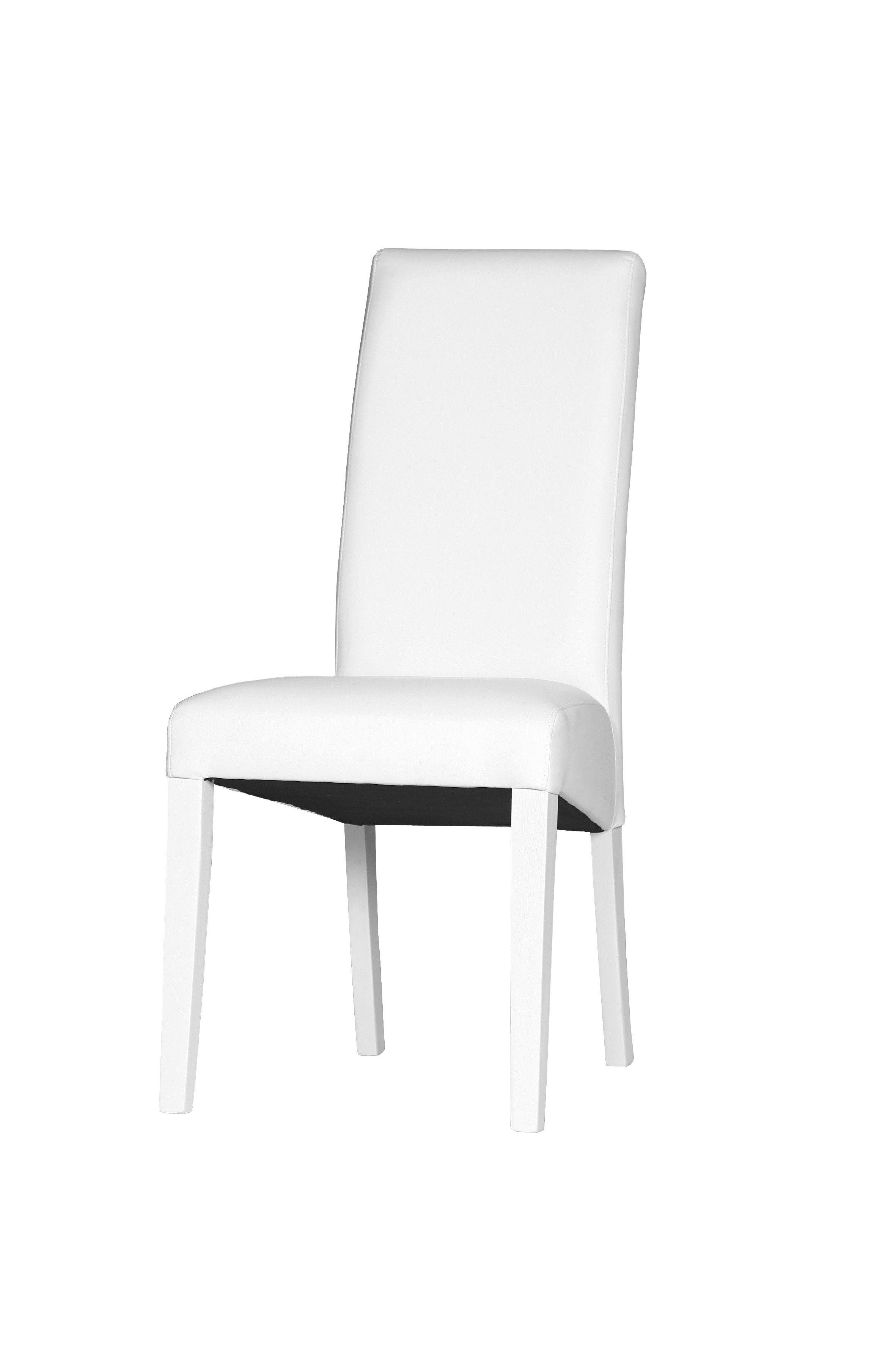 beau chaise blanche simili cuir pas cher
