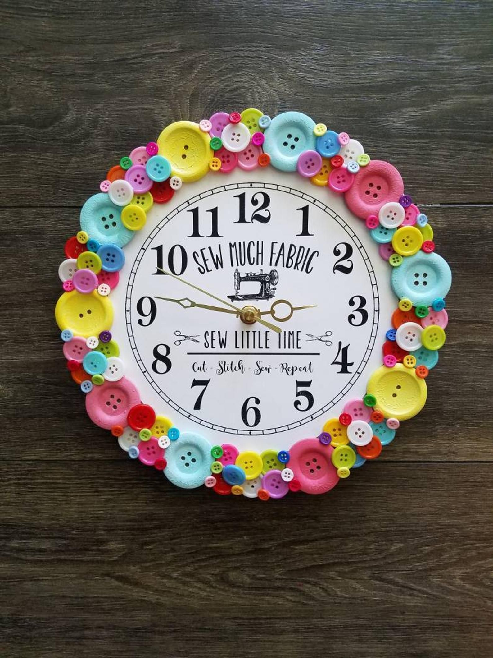 Sewing Room Clock 11 Craft Room Wall Decor Quilting Quilter Seamstress Crafter Gift Colored Buttons Fabric Sew Mother S Day Gift Sewing Room Decor Crafter Gift Button Crafts