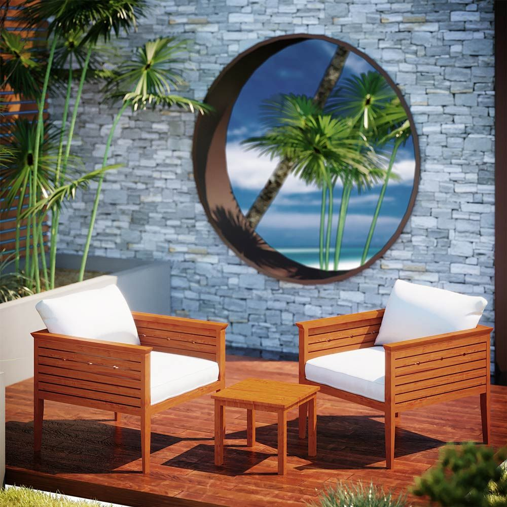 Buy Luxo Curacoa Timber Outdoor Porch Chair & Side Table ... on Luxo Living Outdoor id=62356