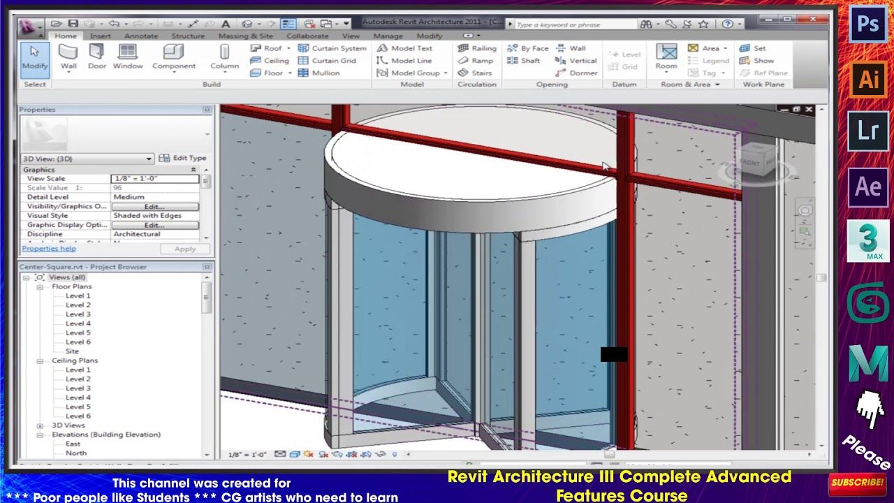 Assignment 4 Center Square Curtain Walls Vi Revit Architecture Revit Architecture Architecture Custom Curtains