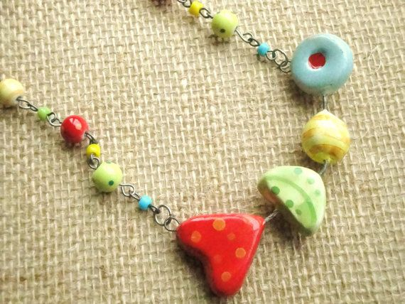 Whimsy heart leaf polka dot red yellow blue green by kristibasket, $26.00