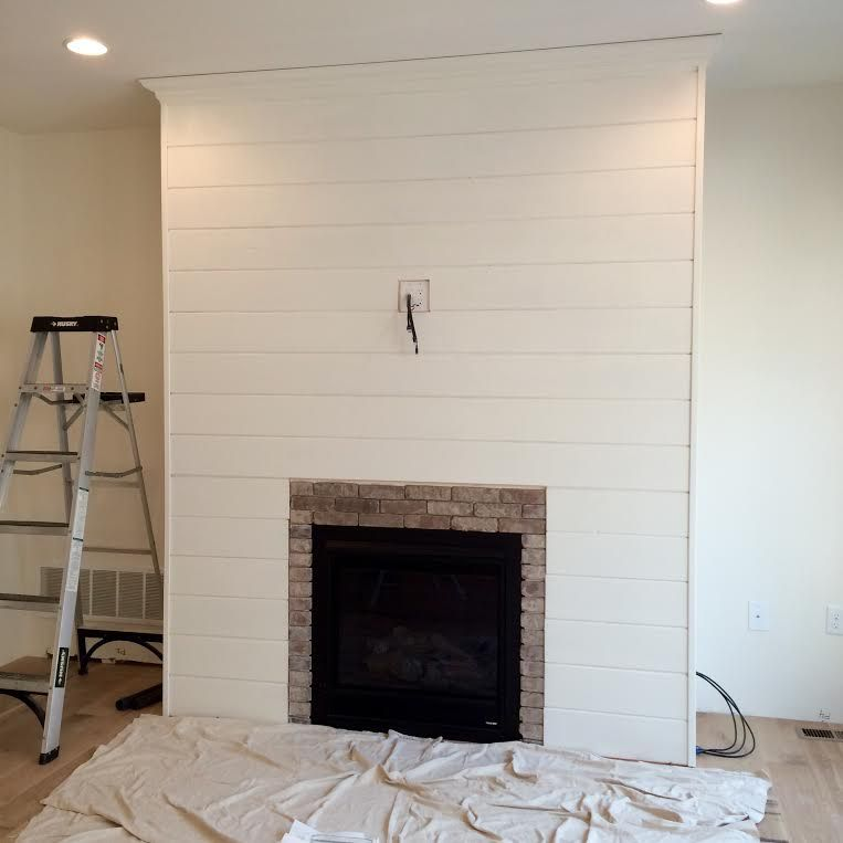Diy Shiplap Fireplace Wall Love It Except Window Above And Shiplag Along Entire Flus Not Sticking Out