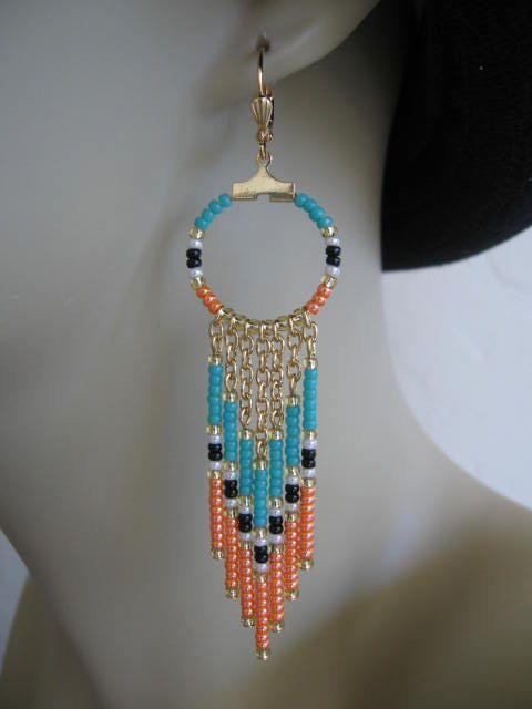 SALE Seed Bead Chain Hoop Earrrings Orange/Aqua