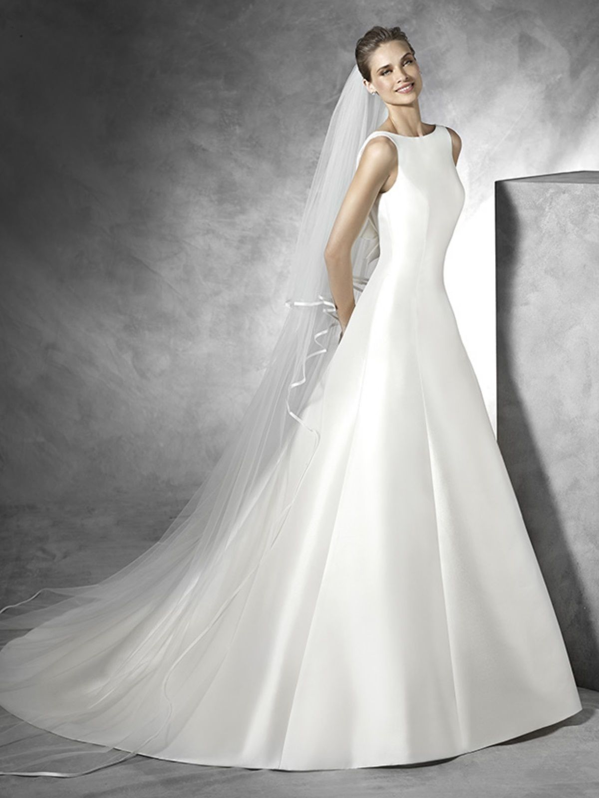 4987315e87b Stunning Mikado Satin A-line Wedding Dress - Tona by Pronovias ...