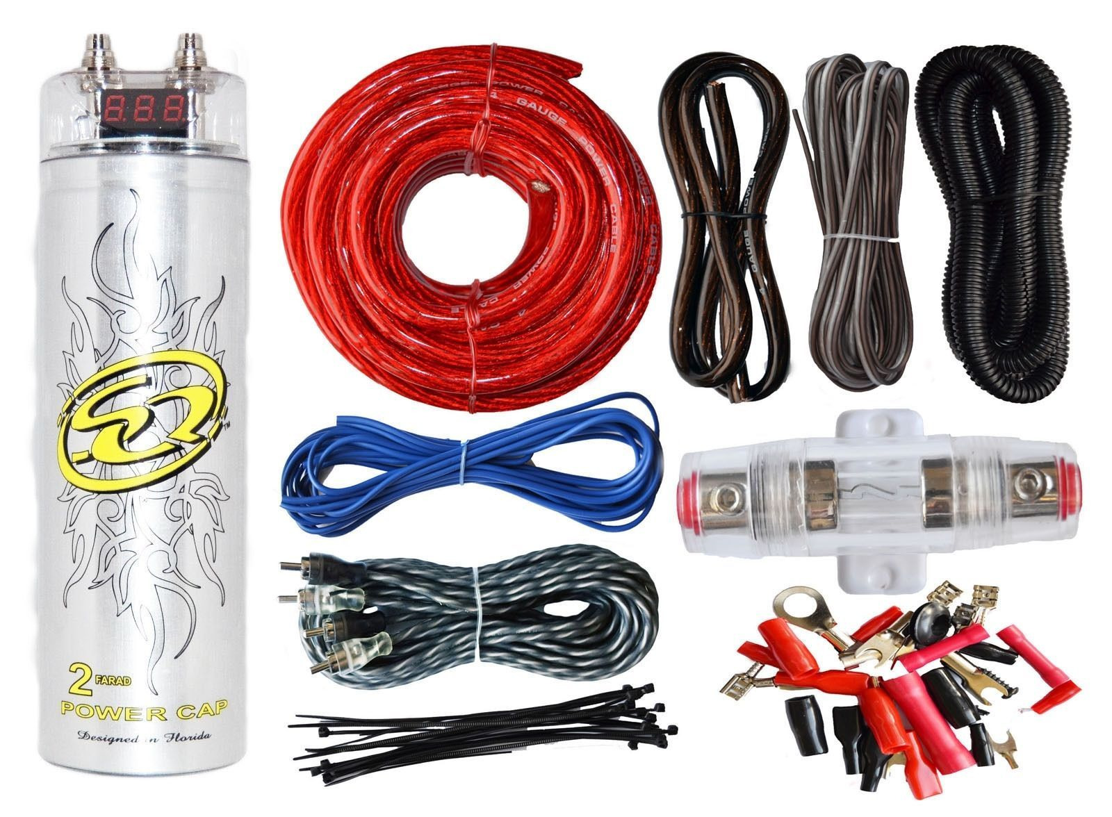 4 Gauge Amp Kit Amplifier Install Wiring 25 Farad Digital Installation Power Ofc Ebay 2 Capacitor 2300w Peak Kits Electronics Accessories Cables