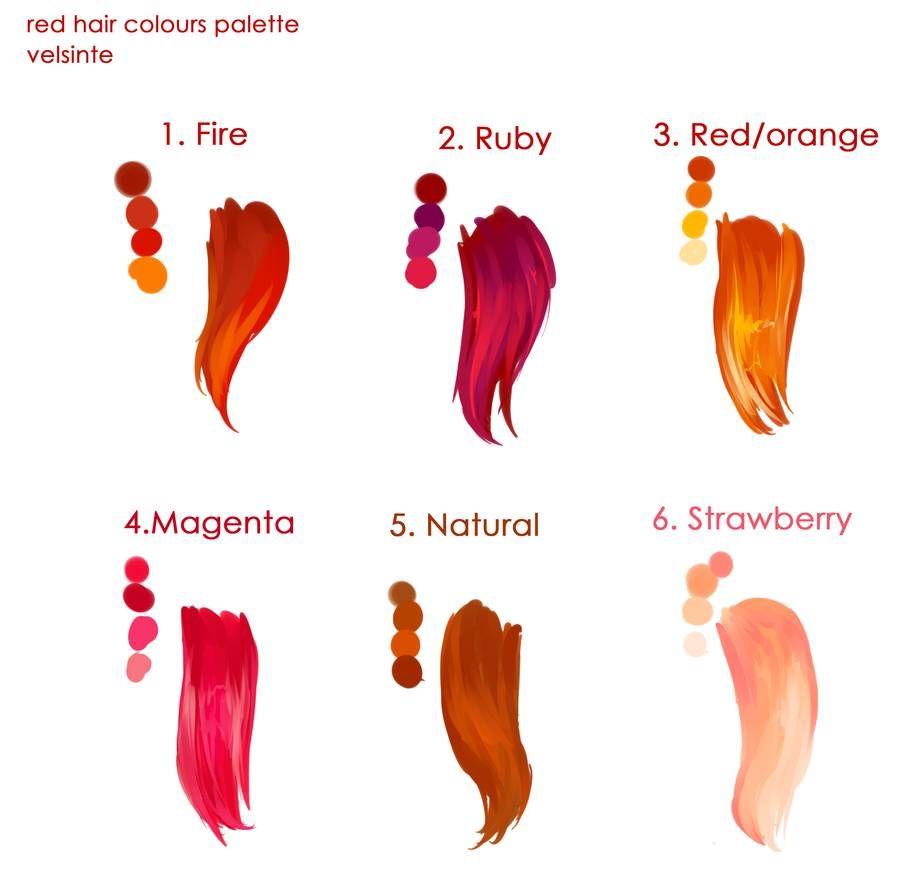 Red Hairs Palette By Velsinte On Deviantart Anime Hair Color Palette Art Digital Art Tutorial