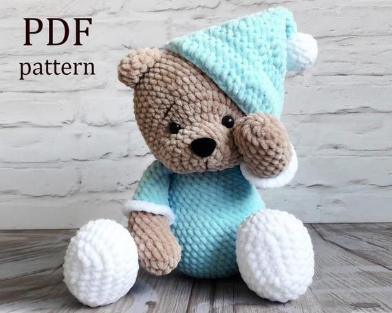 Amigurumi «Teddy bear in pajamas» Crochet pattern PDF. Tutorial #teddybearpatterns