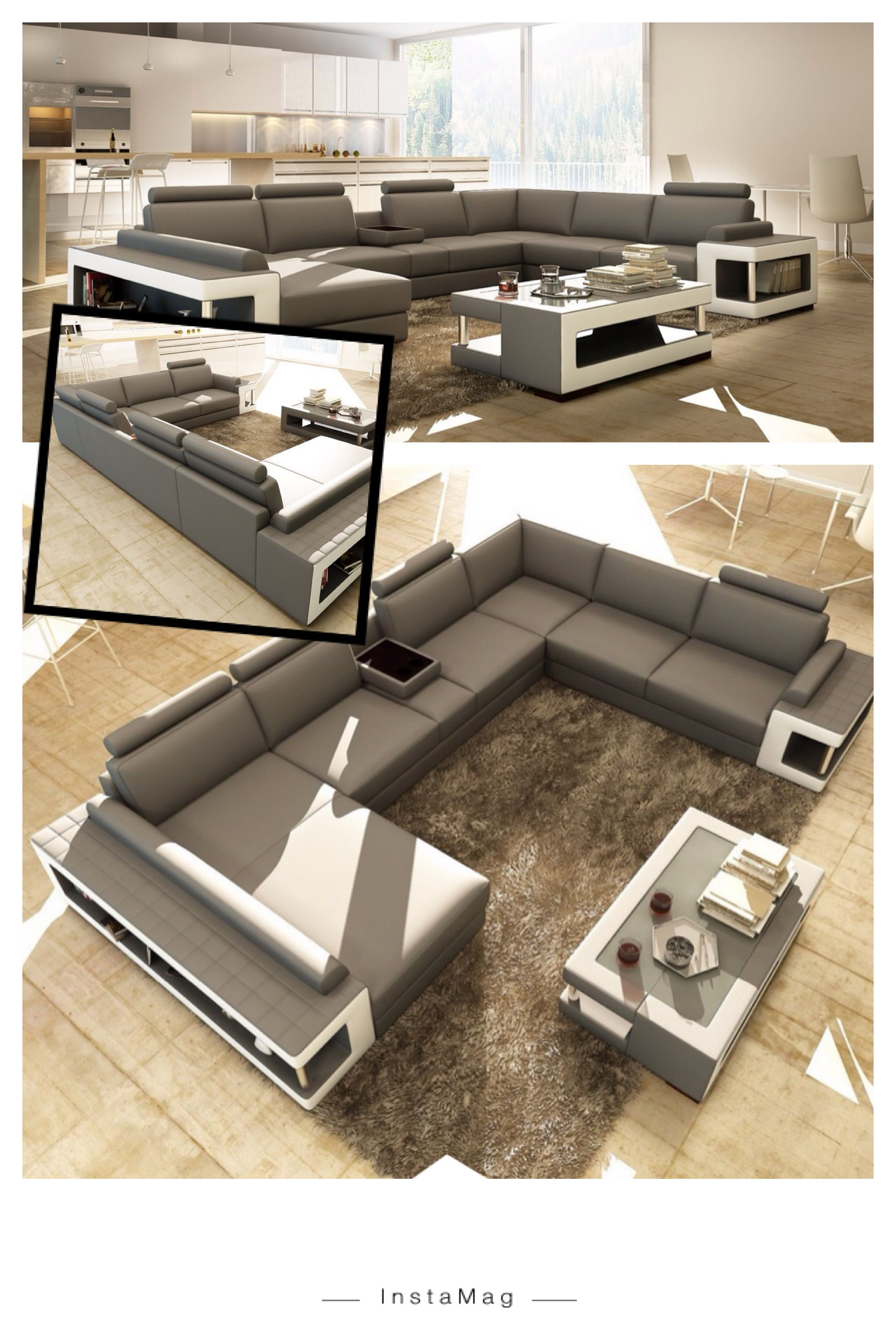 Grey and white leather sectional sofa w coffee table - Modern white living room furniture ...