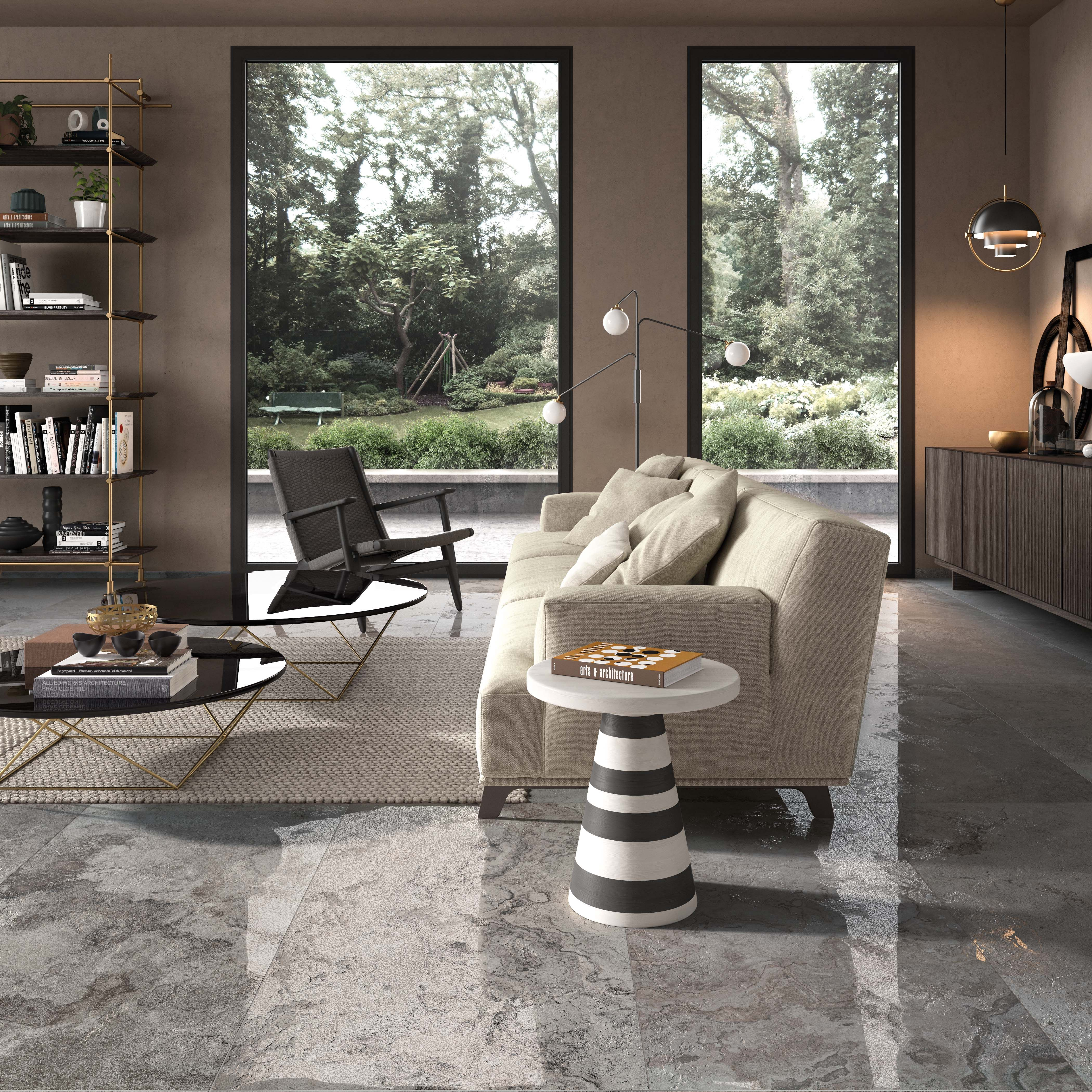 Un Tres Beau Salon Sublime Par Un Carrelage Aux Reflets Lumineux Et Chaleur Living Room And Kitchen Design Small Living Room Decor Sectional Sofas Living Room