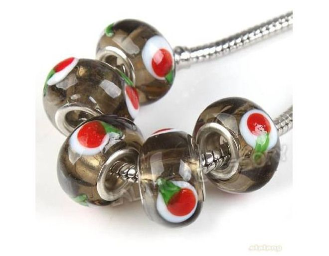 10 Perle Perline Beads a foro largo Vetro Murano Collana Bracciali Bigiotteria Lotto e Stock tipo Pandora
