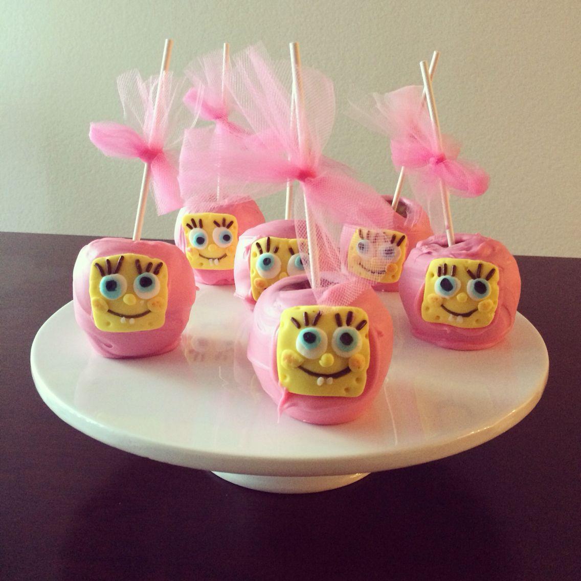manazanas de chocolate rosa -bobesponja
