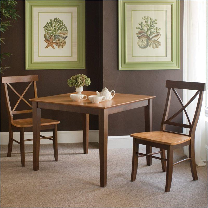 International Concepts 3 Piece Xback Dining Set In Cinnamon Impressive Three Piece Dining Room Set Inspiration