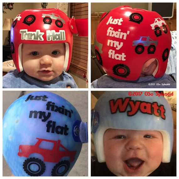 Personalized Cranial Band Decals Monster Truck Fixing My Flat - Baby helmet decalspersonalized cranial band fairy decals just tinkering
