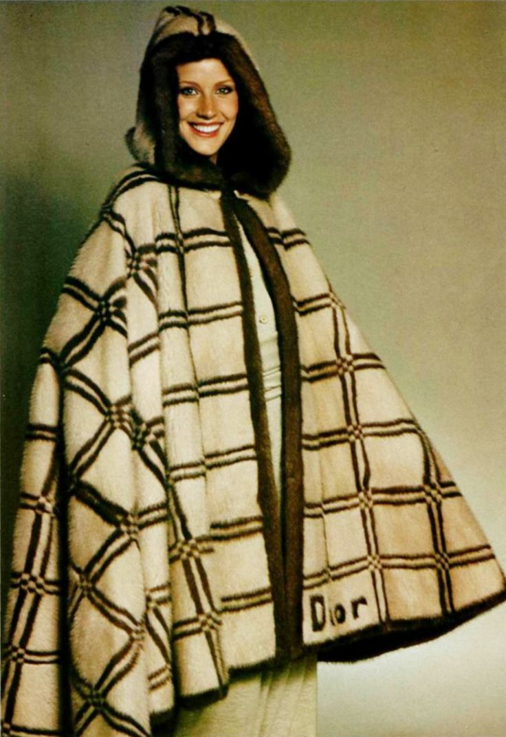 Model wearing a caper by Christian Dior for L'officiel magazine, 1977.