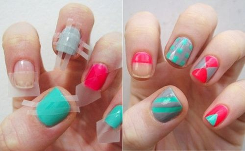 Easy DIY Nail Designs Ideas Which Can Be Made With Scotch Tape Stones Art Brushes And Glitters Step By Design Tutorial