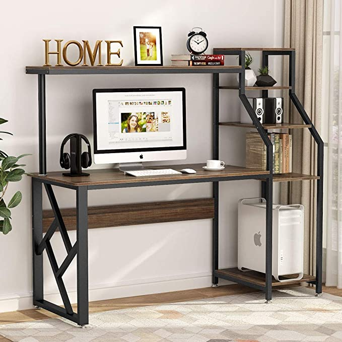 Amazon Com Tribesigns Computer Desk With 4 Tier Storage Shelves 60 Inch Large Rustic Office Desk Comput In 2020 Rustic Office Desk Computer Table Brown Computer Desk
