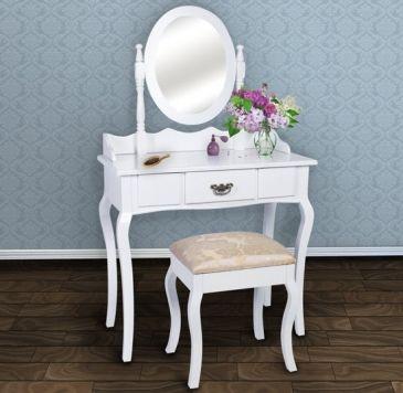 eleganter schminktisch in wei schminktische spiegelschr nke und hocker bedroom bedroom. Black Bedroom Furniture Sets. Home Design Ideas