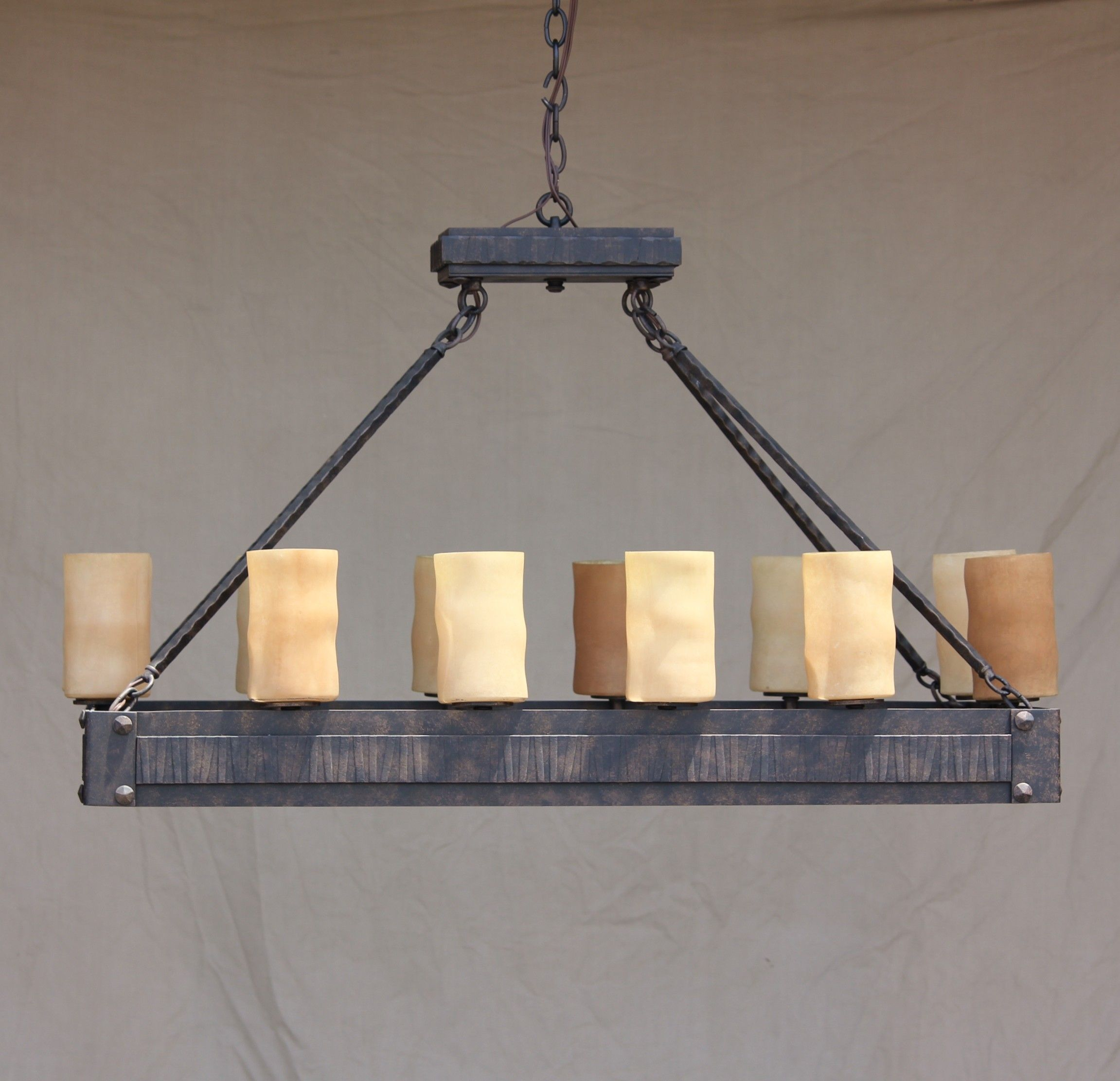 Linear Chandelier Hand Forged Wrought Iron Log Cabin