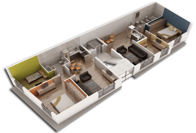Plano 3d de dos viviendas dise o 3d planos 3d - Diseno de casas 3d ...