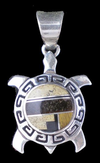Navajo turtle pendant with tiger eye and jasper channel work inlay, by Calvin Begay MW94