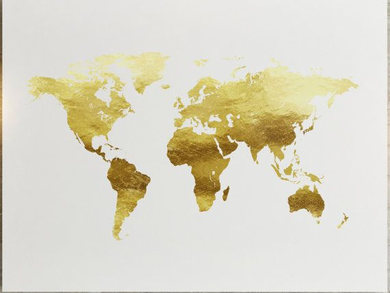 World Map Gold Print Wall Decor Gift Art Gold Foil | Spaces ...